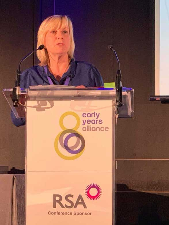 Rachel Buckler speaking at the Early Years Alliance Conference