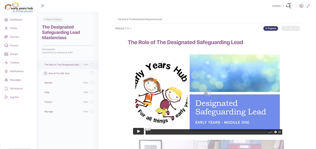 Screenshot of the Designated Safeguarding Lead Masterclass training course